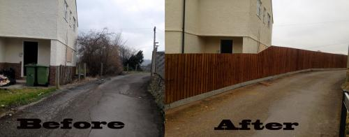 before and after photographs of a fence built by Ace Services